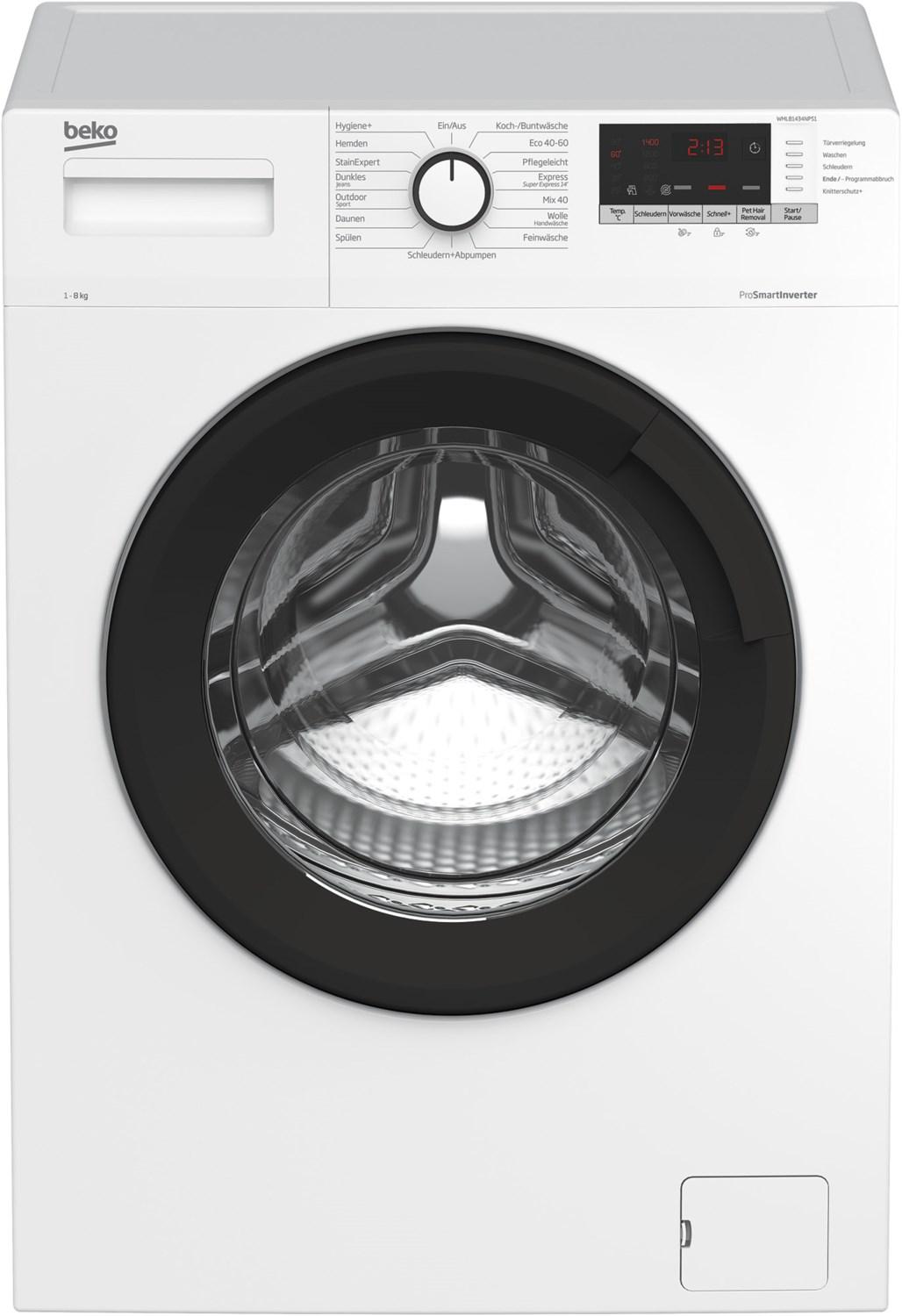 WML81434NPS1 Stand-Waschmaschine-Frontlader weiß / C