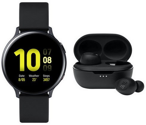 Smartwatches - Samsung Galaxy Watch Active2 (44mm) LTE Smartwatch aqua black inkl. TUNE115TWS  - Onlineshop EURONICS
