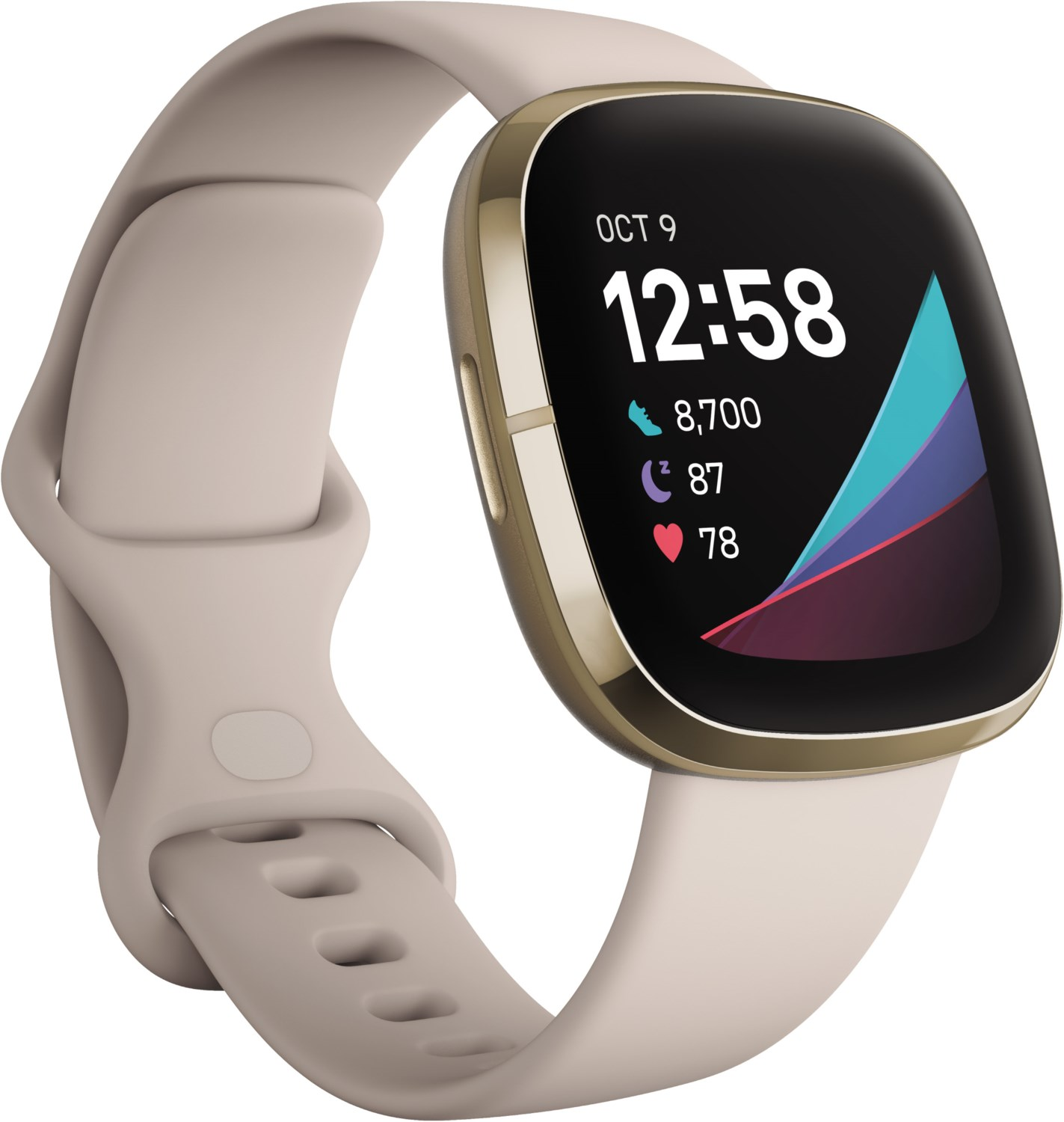 Smartwatches - Fitbit Sense lunar white soft gold  - Onlineshop EURONICS