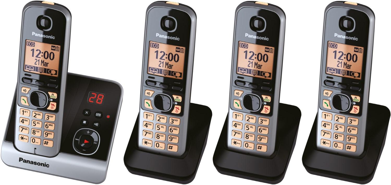 KX-TG6724GB Schnurlostelefon mit Anrufbeantworter schwarz