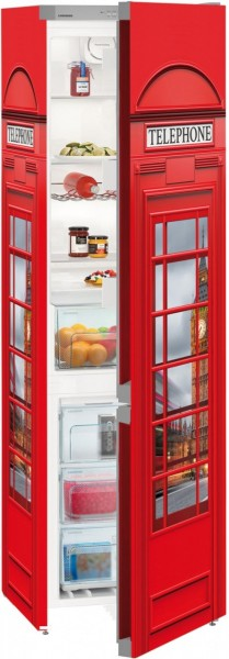 CNPsl 48C3-20 Telefonbox Limited Edition Aktion Kühl-/Gefrierkombination rot/dekor / A+++