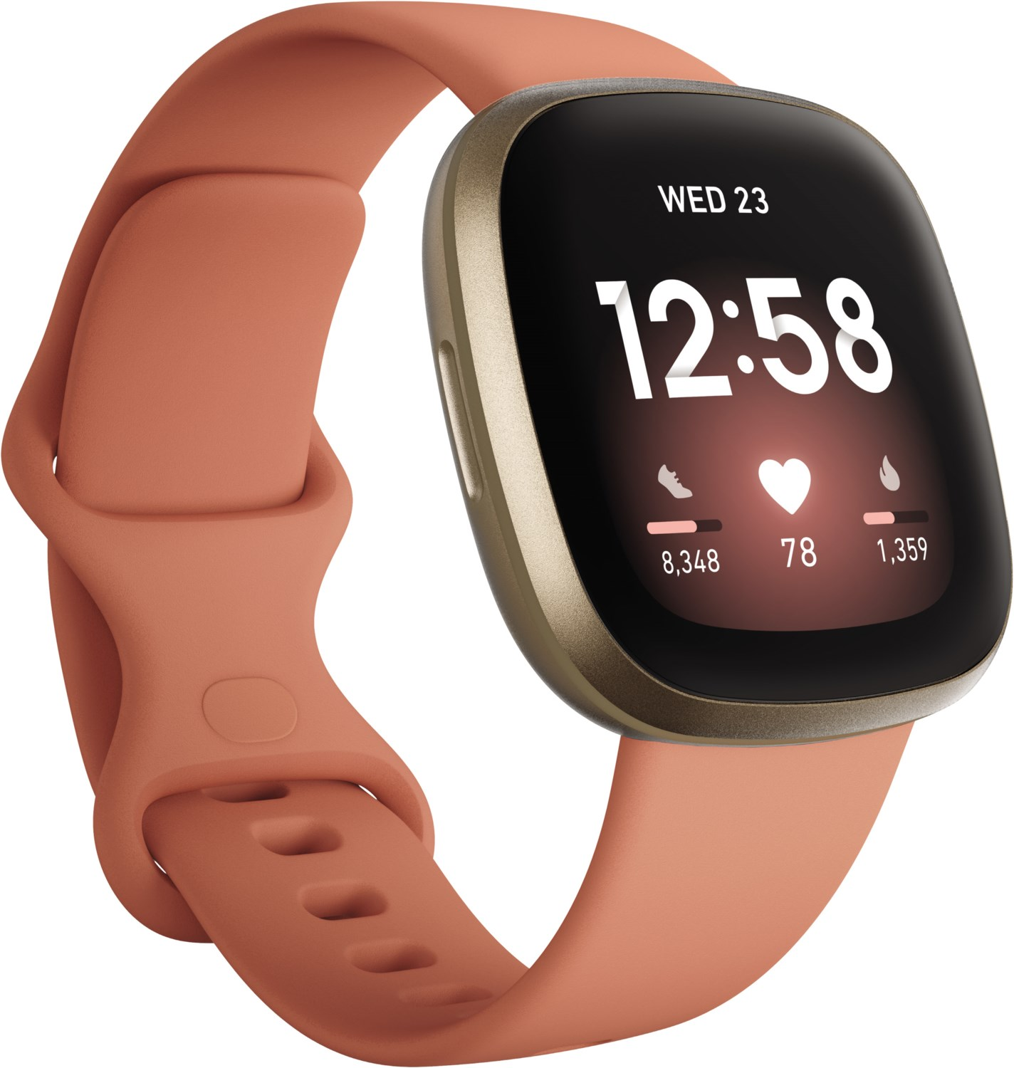 Smartwatches - Fitbit Versa 3 Smartwatch pink clay soft gold aluminum  - Onlineshop EURONICS