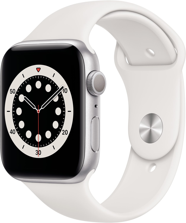 Smartwatches - Apple Watch Series 6 (44mm) GPS mit Sportarmband silber weiß  - Onlineshop EURONICS